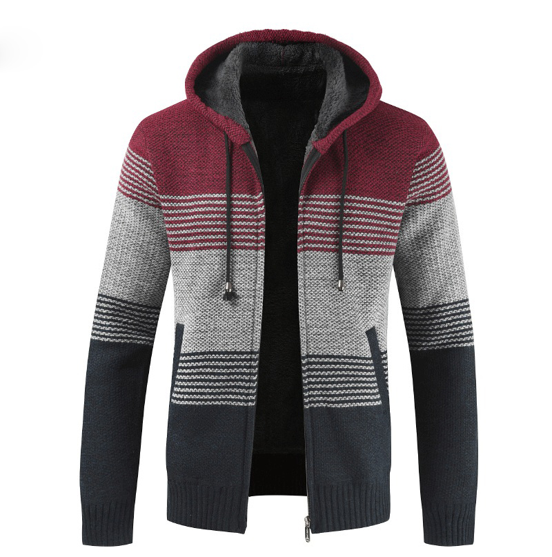 H659433eeae85476c953e065fa8baa5d4u NEGIZBER 2019 Winter Mens Coats and Jackets Casual Patchwork Hooded Zipper Coats Men Fashion Thick Wool Jacket Men Streetwear