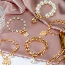 Punk 2021 Gold Color Charm Chain Bracelets For Women Pearl Coin Butterfly Alloy Bangle