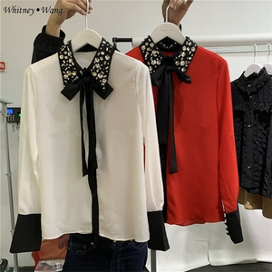 Image 4 - WHITNEY WANG Blouses 2020 Spring Fashion Elegant Diamonds Beading Collar Bow Blouse Women Blusas Office Lady Shirt Top