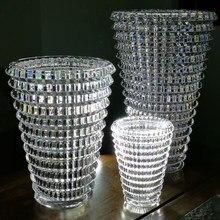 Nordic crystal Dried Flower Vase square crystal Transparent vase small medium oval vase gift box