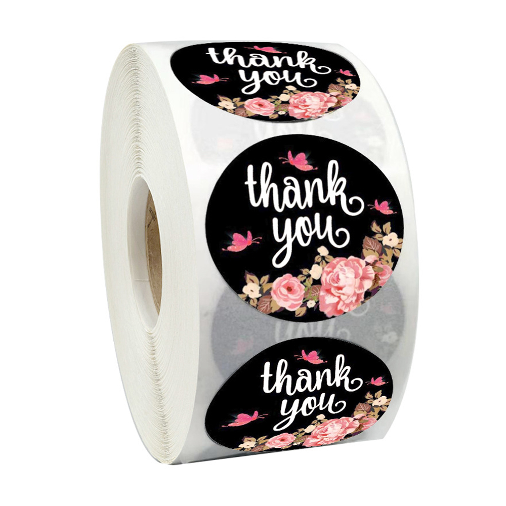 500pcs/roll  Flower Sticker Thank You Sticker Seal Labels Round Reward Scrapbooking For School Teacher Cute Stationery Supplies