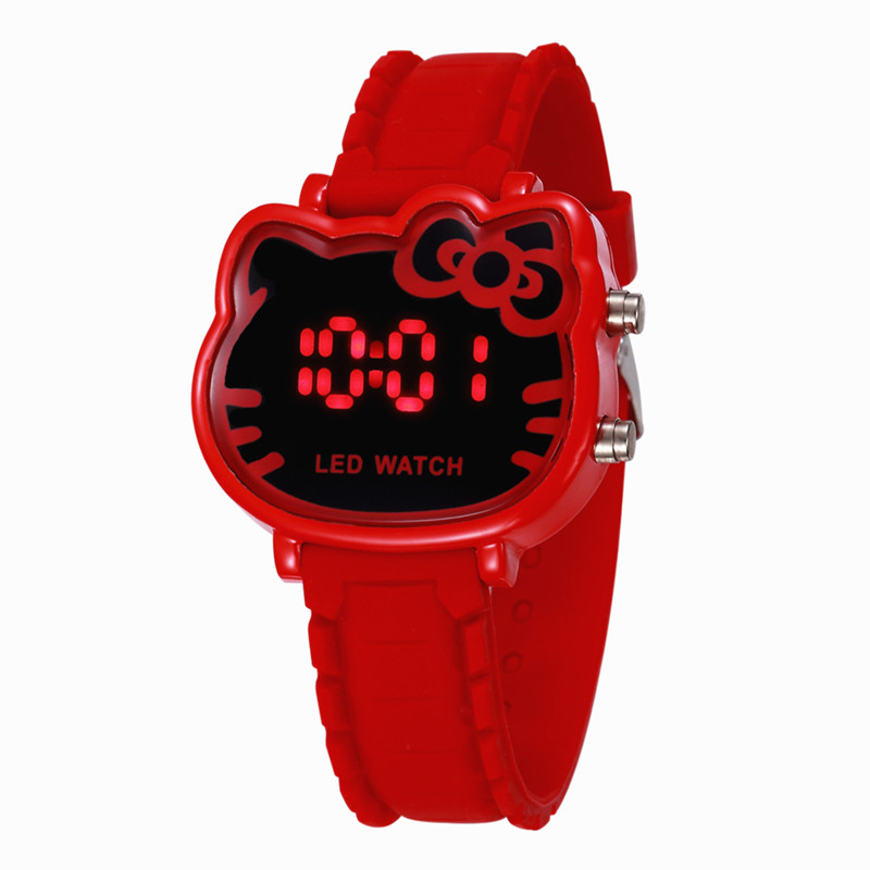 Children Hello Kitty LED Digital Watch Hodinky Girls Kids V Lovely Silicone Watch Ceasuri Clock Gift Drop Shipping Reloj Mujer