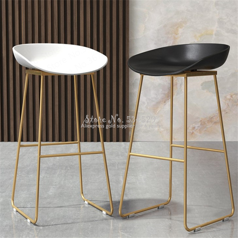 29%Nordic Bar Chair Coffee Milk Tea Lounge Chair Simple Bar Stool Designer Wrought Iron Gold High Chair Padded Bar Chair