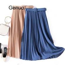 Женская винтажная юбка миди с поясом элегантная плиссированная