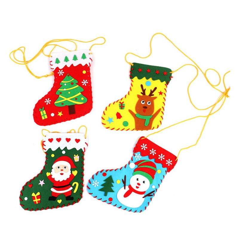 DIY Christmas Sock Decor Cloth Arts Kindergarten Child Puzzle Gifts Pouch Random Exercise Practical Ability Color Cognition