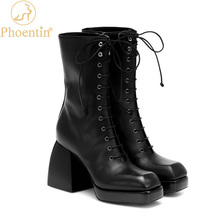 Platform Boots Phoentin Cross-Tied-Shoes Chunky High-Heel Women Martins Zip with Zip-Side