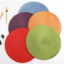 Placemat Table Mat Round Placemats PP Plastic Woven Dining Heat Insulation Pot Holder Cup Coasters Kitchen Accessories