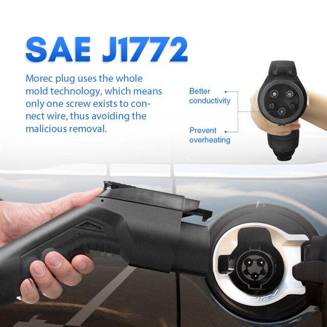 Câble de recharge pour véhicule électrique 32a, 7,2 kw, cordon de Station de recharge de voiture EVSE Type 1 à 2, SAE J1772, 5M pour boulon, Fiat 500e