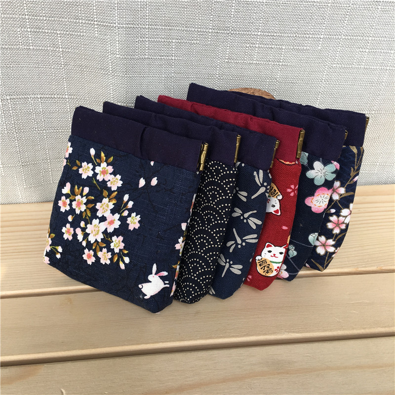 Handmade Fabric Mini Purse Cotton Linen Mouth Gold Package Wallet Earphone Bag Coin Storgage Bag Japanese-style And Wind