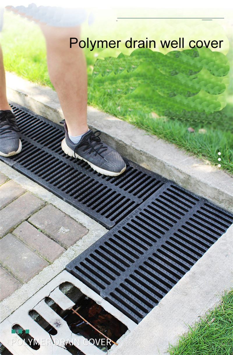 Fashion Style Resin Plastic Kitchen Sewage Ditch Drainage Sewer Trench Cover Plate Grid Rainwater Grate Rectangular Well Cover