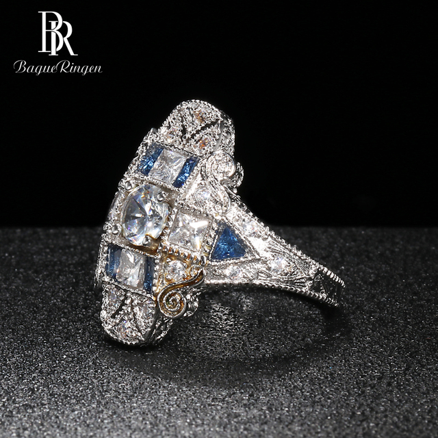 Bague Ringen Geometry Silver 925 Jewelry Gemstones Ring for Women Sapphire Ruby Exaggerated style Female Gift Wholesale Party 2