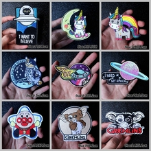 Nicediy UFO Space Stickers Embroidered Patches for Clothing Iron on Patch Clothes Cute Cartoon Unicorn patch Badge Applique
