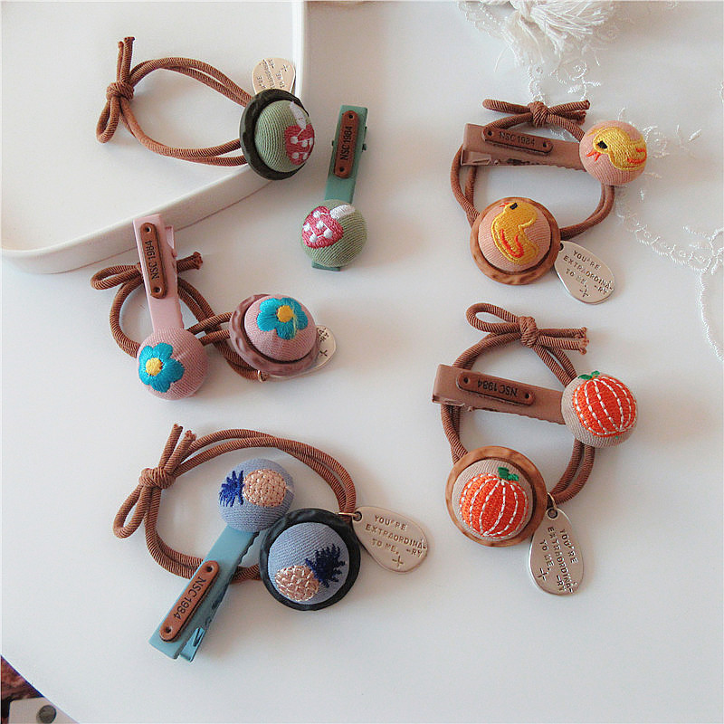 1 Pair Korean Sweet Girl Children's Duckbill Clip Hair Accessories Fashion Cute Embroidery Vegetables Fruit Rubber Band Headwear