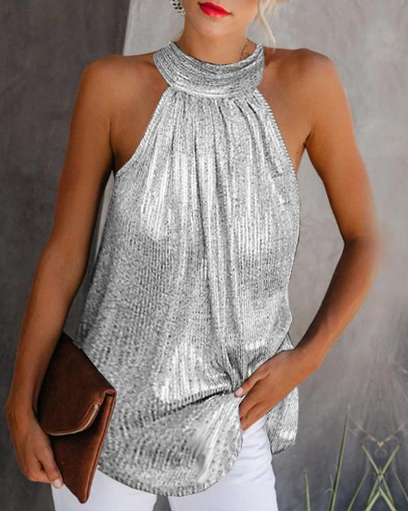 2020 Women Sexy Elegant Basic Shirt Female Sleeveless Party Metallic Halter Neck Sleeveless Top