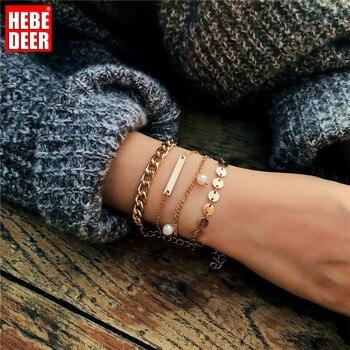 HebeDeer, conjunto de PULSERAS CON ABALORIOS, brazalete con borla para mujer, cadena para niña, Color rosa dorado, joyería de moda, brazalete de aleación de joyería Bohemia