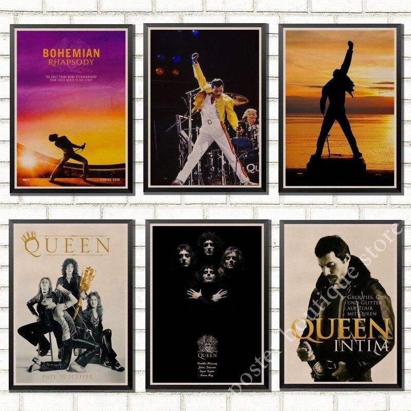С группой Queen музыкальный постер из крафт-бумаги Freddie Mercury, винтажная Высококачественная декоративная картина с сердечником, Настенная Накл...