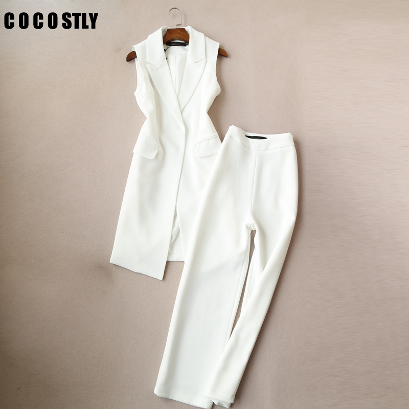 Fashion Autumn Korean Version Of The Vest Two Sets Women Suits Tide Paragraph Office Lady Vest Wide Leg Pant Suits Set Women