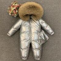 Baby Winter Down Jacket Rompers Natural Fur Plus Fleece Thick Warm Outerwear Toddler Snowsuit Boys Girls Parkas Coat Jumpsuit