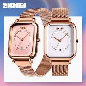 Image 1 - SKMEI reloj de cuarzo para mujer, informal, elegante, de pulsera, resistente al agua, con imán, esfera Rectangular, zegarek damski, 9207