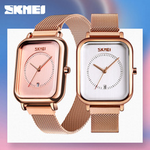 SKMEI カジュアル女性クォーツ時計エレガントなファッション腕時計防水マグネット時計バンド長方形ダイヤル zegarek damski 9207