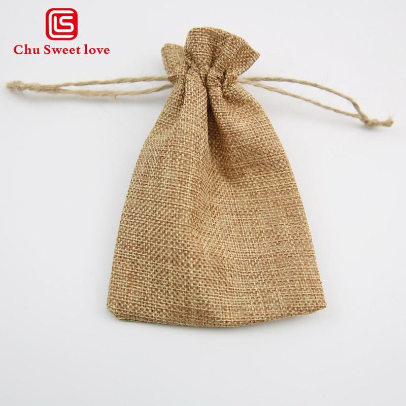 13 * 18cm Jewelry Drawstring Bag Candy Gift Bag Imitation Hemp Bundle Storage Bag 50pcs