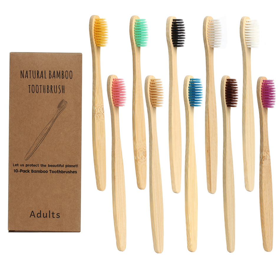 2020 Design Mixed Color Bamboo Toothbrush Eco Friendly Wooden Tooth Brush Soft Bristle Tip Charcoal Adults Oral Care Toothbrush