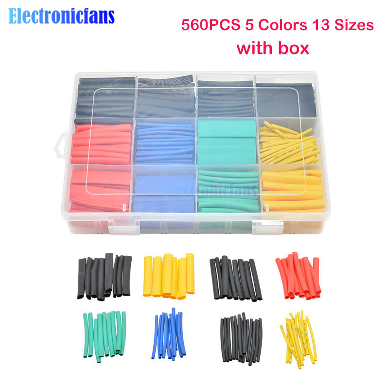 560PCS Heat Shrink Tubing 2:1 Electrical Wire Cable Wrap Assortment Electric Insulation Heat Shrink Tube Kit With Box