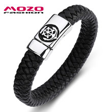 Fashion Classic Men Bracelet Black Leather Stainless Steel Buccaneer Magnet Buckle Bracelet Man Anchor Punk Jewelry PS2083(China)