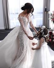 Новые Длинные свадебные платья со съемным шлейфом с длинными