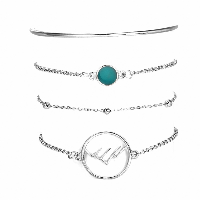 4 Pcs/Set Geometric Round Mountain Range Charm Bracelet for Women Simple Silver Link Chain Braclets Femme Set Pcs