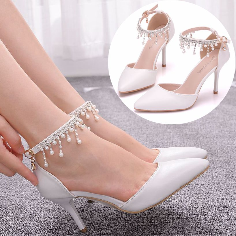 Crystal Queen White Pearls Tassel Chain Sandals Thin High Heels Pointed Toe Sandals Mary-Janes Sandals White Weddding Sandals
