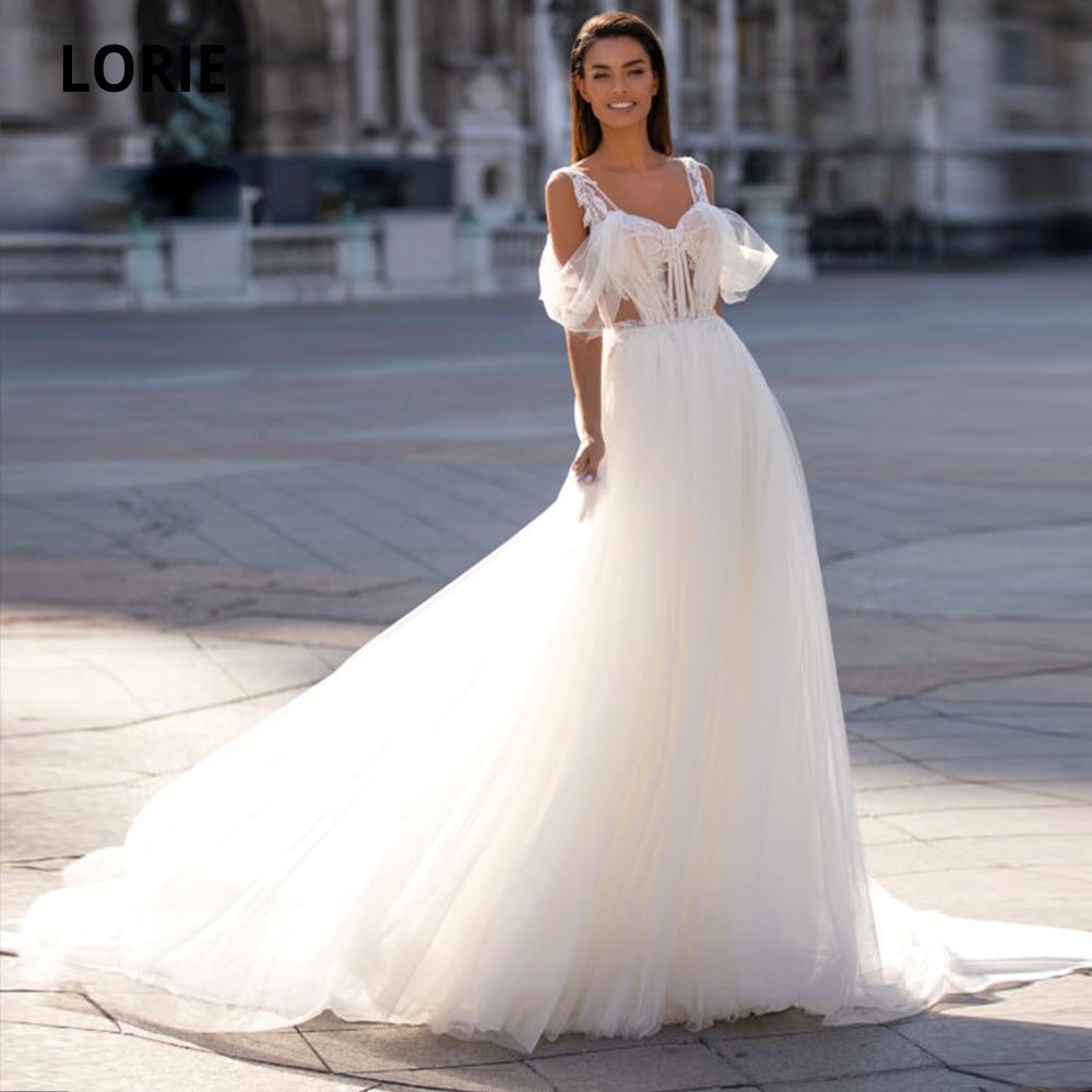 LORIE 2020 New Off The Shoulder Wedding Dresses Lace Long Boho Bridal Gowns Back Zipper Princess Party Wedding Gowns Plus Size
