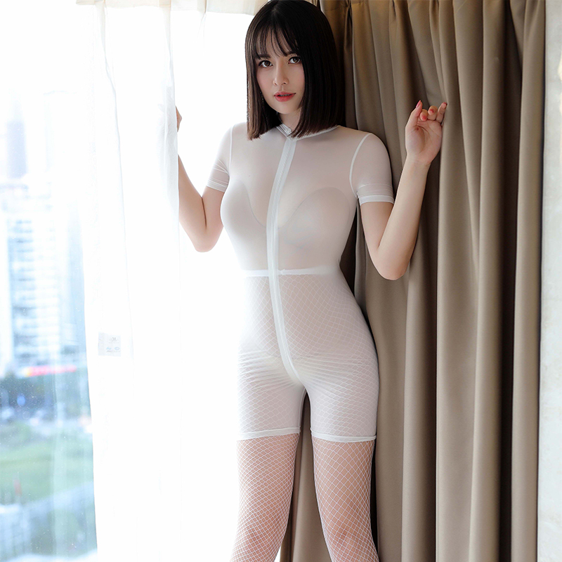Ice Silk Smooth Shiny Playsuit Jumpsuits Shaping Dance Wear See through Sexy Women Zipper Open Crotch Bust High Cut Bodysuits