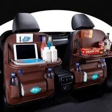 Organizer na siedzenie samochodowe worek do przechowywania uchwyt podróżny w samochodzie towar uniwersalny PU skóra w Auto torba montowana z tyłu siedzenia Protector Accessoires