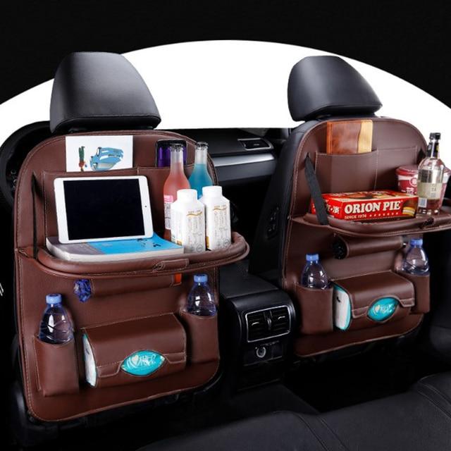 カーシートバックオーガナイザー収納袋旅行ホルダーカー用品ユニバーサルpuレザー自動車バックシートバッグプロテクターaccessoires