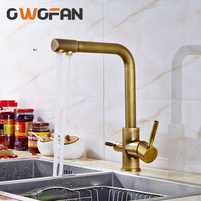 Kitchen Faucets Antique 3 Way Water Filter Taps Dual Handle Chrome Brass Crane High Arch Swivel Purifier Filtration Tap N22-072