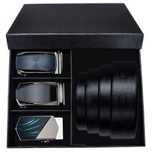Hi-Tie Mens Designer Belt Buckles for Men Genuine Leather Belt for Jeans Strap Fashion Automatic Buckle Trouser Belts 3.5cm Wide