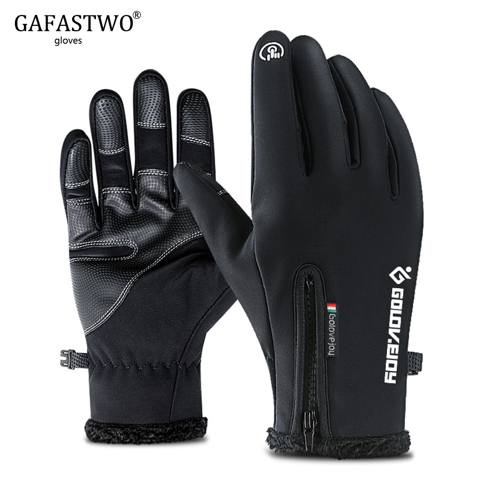 Outdoor Riding Mens Warm Winter Gloves Fashion Women Touch Screen Plus Velvet Windproof Zipper Waterproof Sports Black Gloves