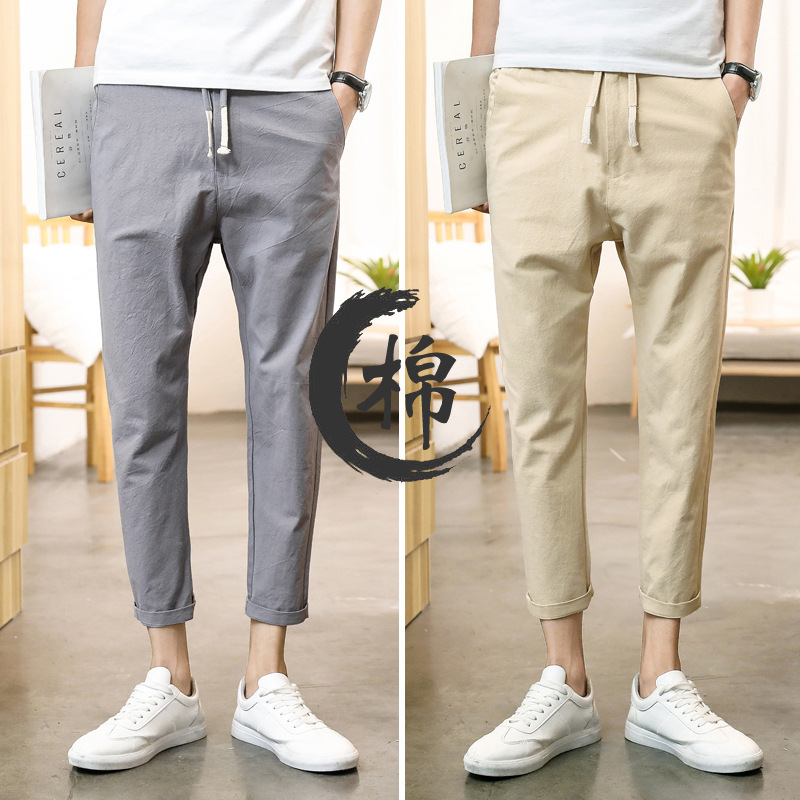 Men Capri Pants Summer Teenager Korean-style Trend Casual Skinny Pants MEN'S Sports Pants Cotton Comfortable Breathable