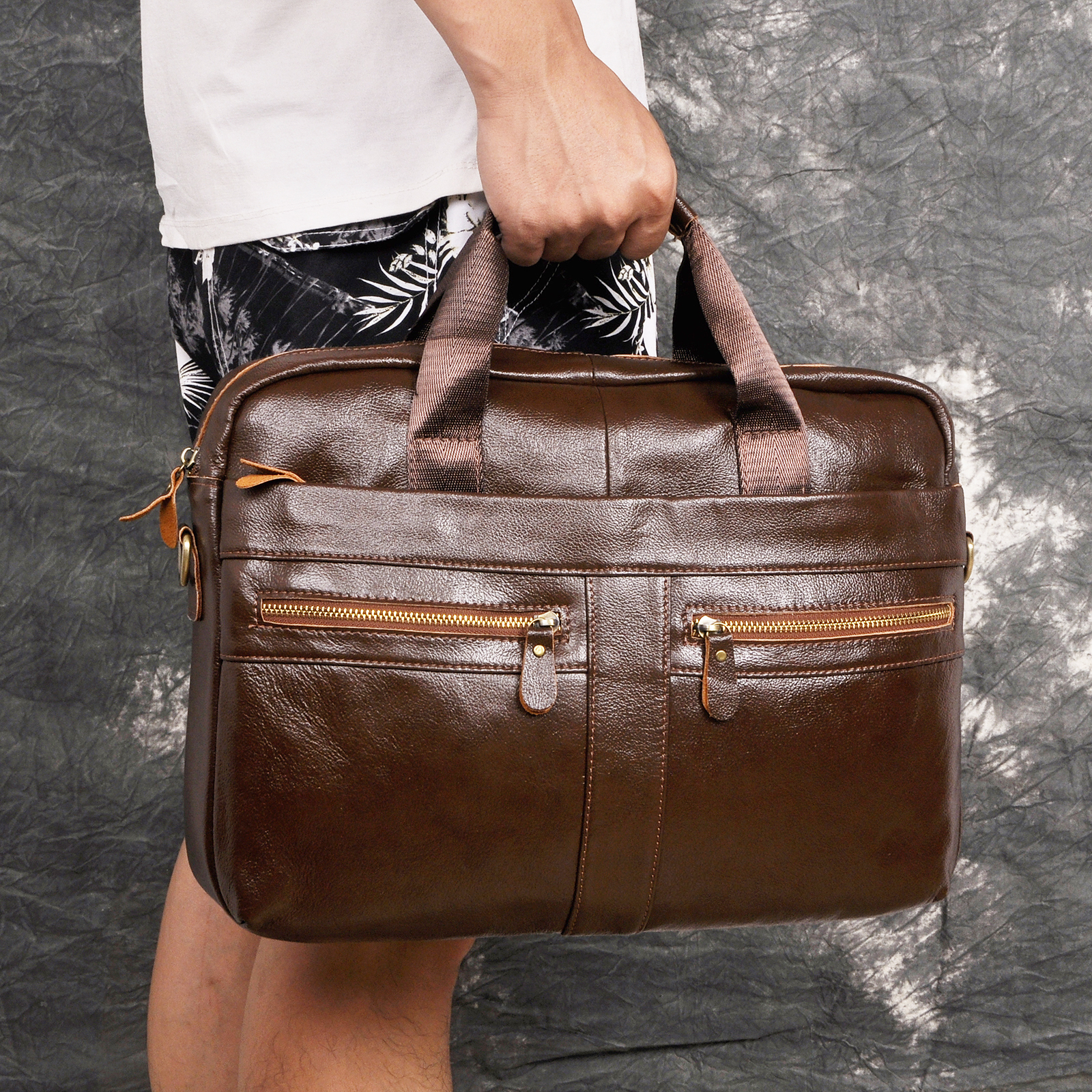 Men Original Leather Retro Fashion Travel Briefcase Business 15.6