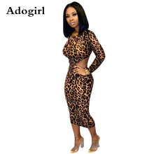Adogirl Sexy Leopard Print Bodycon Dress Women O Neck Backless Lace Up Long Womens Autumn Winter Club Party Vestido
