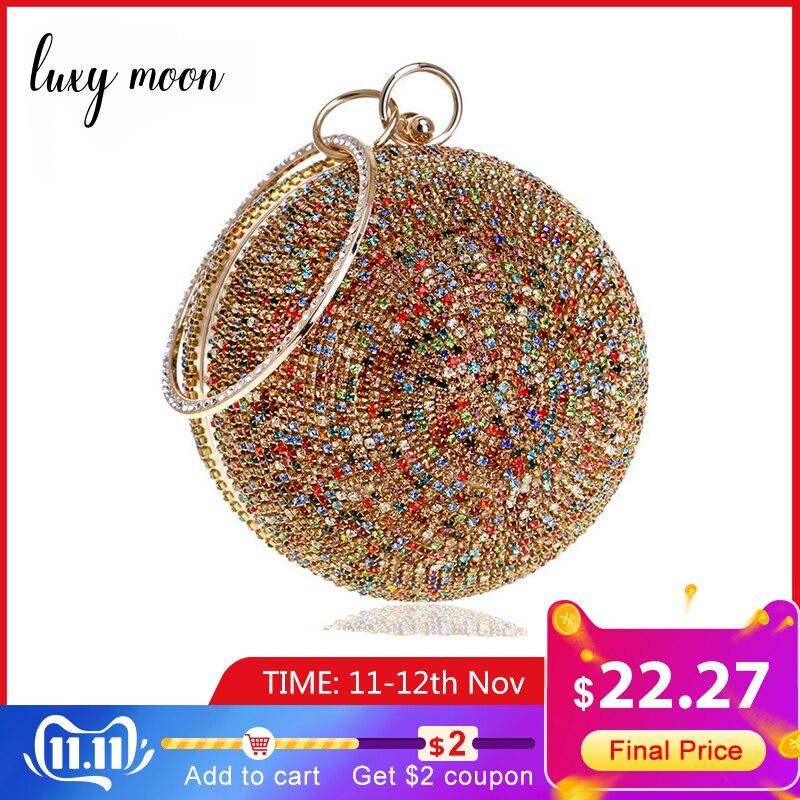 Женский Золотой клатч, полный кристалл, клатч, кошелек, шарообразные клатчи, дамские сумочки, Свадебный Кошелек на цепочке, сумка на плечо,