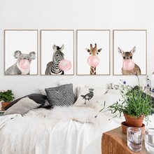 Baby Animal Pink And Blue Bubble Poster Nursery Canvas Wall Art Print Zebra Giraffe Painting Nordic Kids Bedroom Decor No Frame