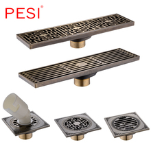 цена на Drain 8*30CM Euro Antique Brass Art Carved Floor Drain Cover Shower Waste Drainer Bathroom Bath Accessories Strainer .