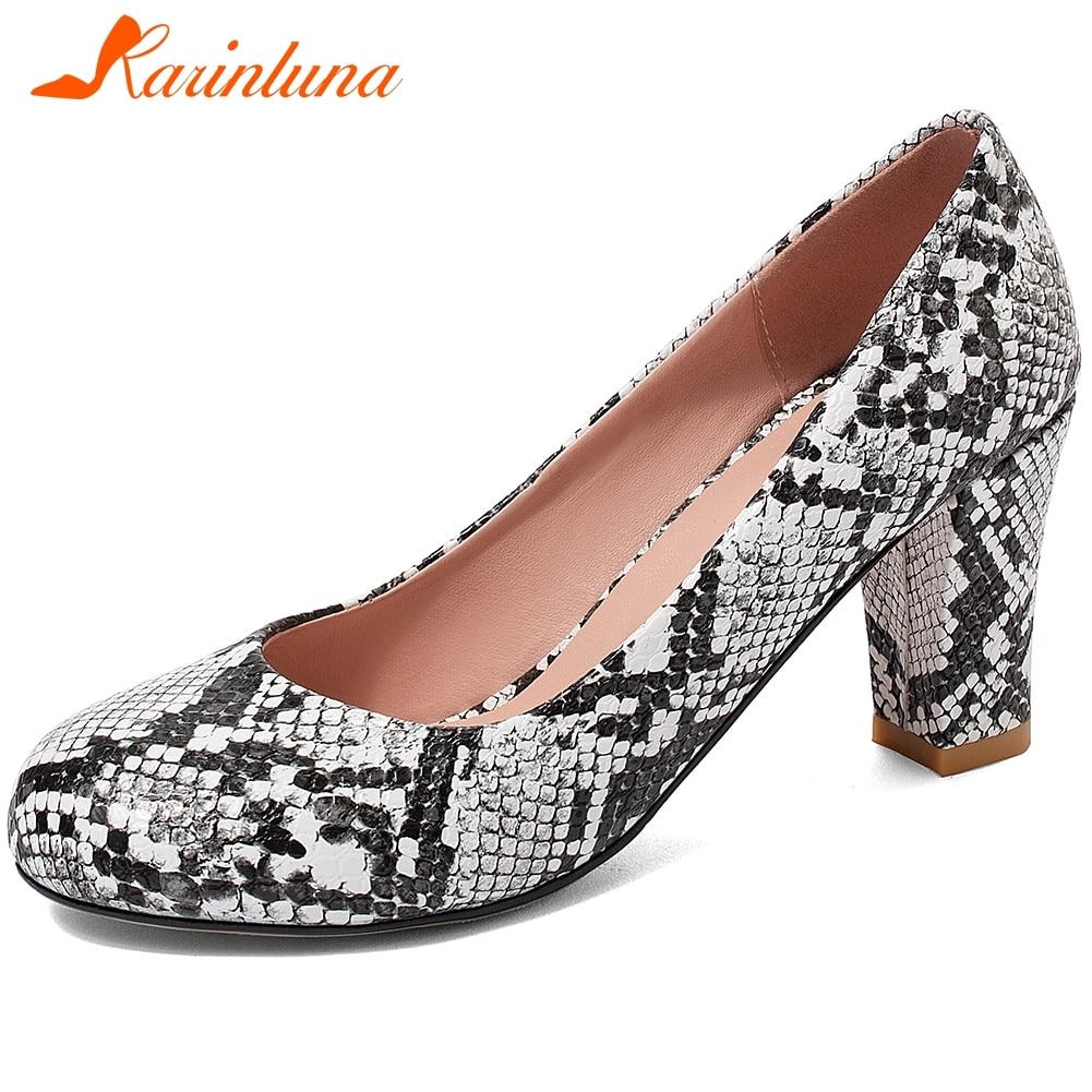 Karinluna 2020 New Fashion Slip On Chunky High Heels Shoes Women Pumps Female Shallow Office&Career Pumps Woman Shoes Footwear