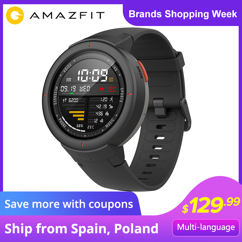 Amazfit Verge English Version Smartwatch 1.3-inch AMOLED Screen Dial & Answer Calls Upgraded HR Sensor GPS Smart Watch orologio delle forze speciali