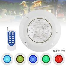 18 LED 12V 18W RGB Swimming Pool Light 3000K Remote Control Wall-mounted Waterproof Underwater for