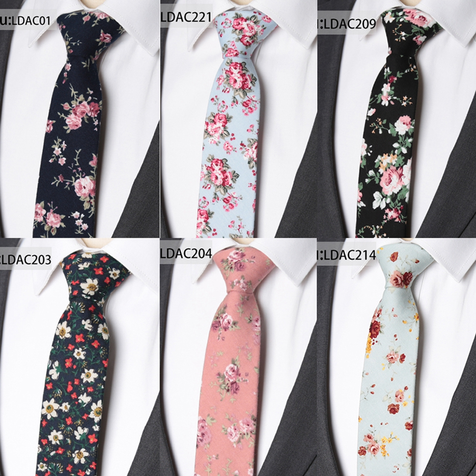 Necktie Men Fashionable Cotton Flower Ties Classical Colorful Floral Lovely Neck Ties Mens Skinny Wedding Party Gift Tie