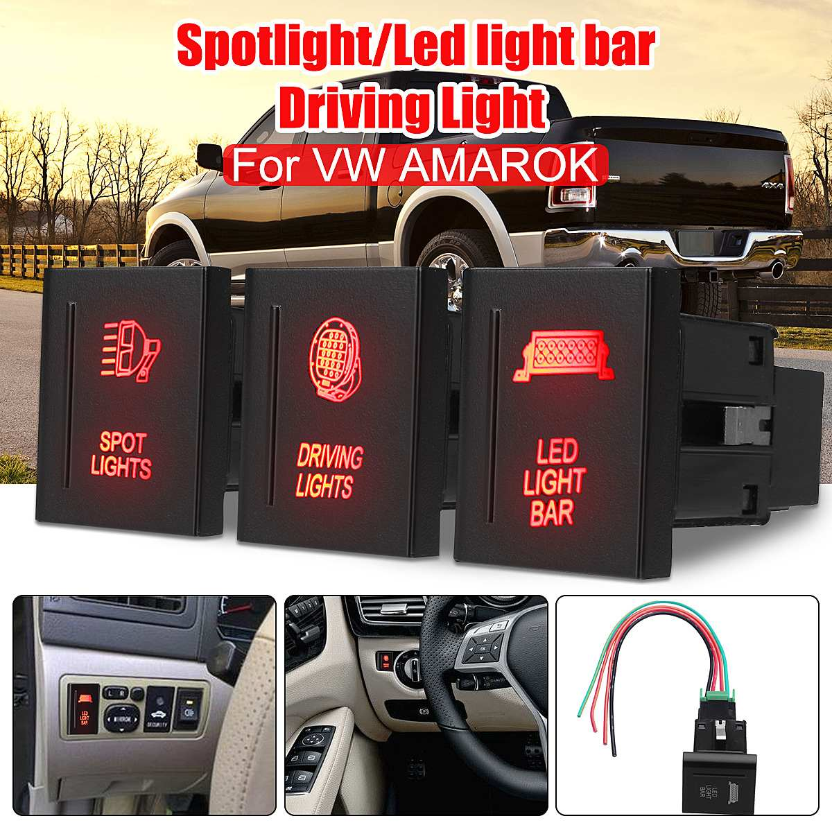 ROOF LED LIGHT BAR Push Button Switch On Off Dual Red For VW Amarok Left Side