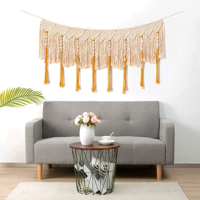 Wall Hanging Macrame Curtain Fringe Banner Bohemian Wall Decor Woven Tapestry Home Decoration For Wedding Apartment Bedroom Livi